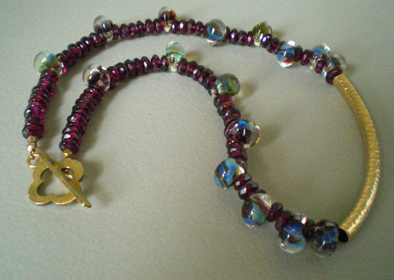 Faceted Garnet & Boro Glass Necklace