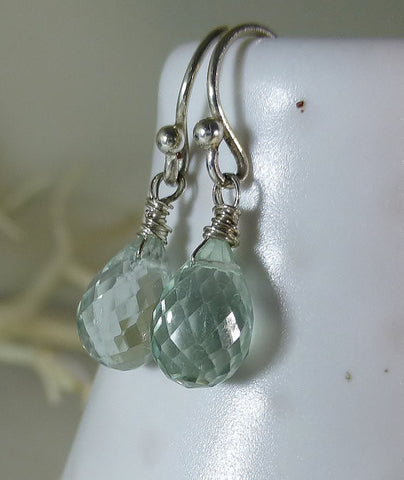 Pale Seafoam Green Microfaceted Prasiolite Sterling Silver Drop Earrings