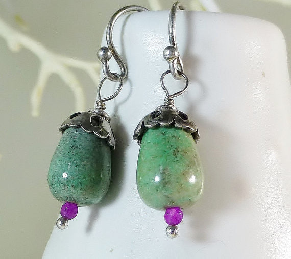 Green Chinese Jade & Pink Dyed Jade with Bali Sterling Silver Boho Earrings.
