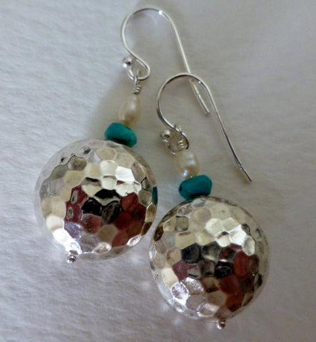 Hammered Sterling Silver, Turquoise & Pearl Earrings