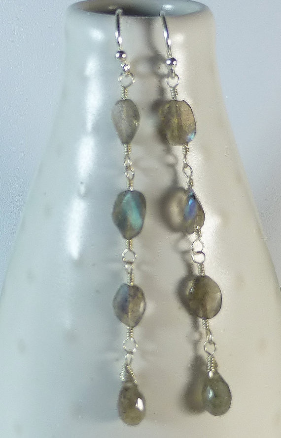 Long Shimmery Grey Labradorite Gemstone Dangle Sterling Silver Earrings