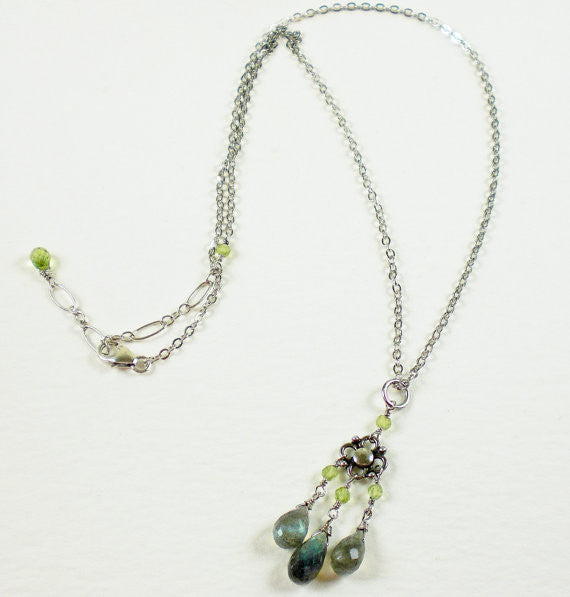 Flashy Labradorite Briolettes & Grassy Green Peridot Sterling Bali Silver Necklace
