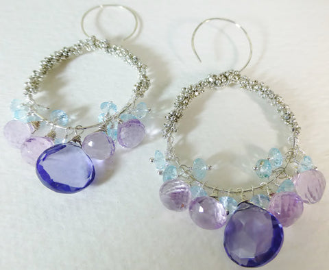 Sterling Silver Gemstone Hoops, Pink Amethyst, Swiss Blue Topaz & Blue Hydro Quartz
