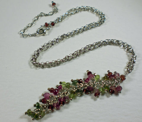 Faceted Pink and Green Tourmaline Waterfall Necklace. Sterling Silver.