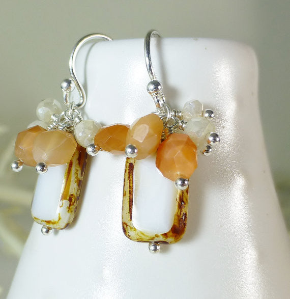 Czech Glass, Peach Moonstone, Mystic Corundum Gemstone Dangle Silver Earrings