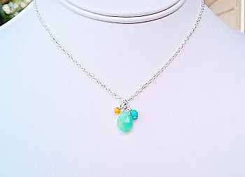 Apple Green Chrysoprase , Fire Opal, Turquoise nugget Necklace