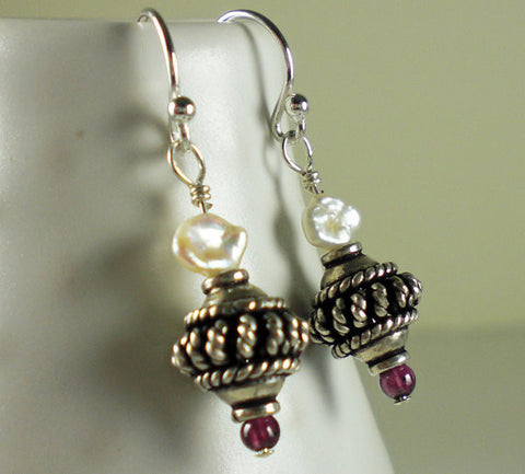 Bali Sterling Silver, Petite Pearl & Garnet Earrings