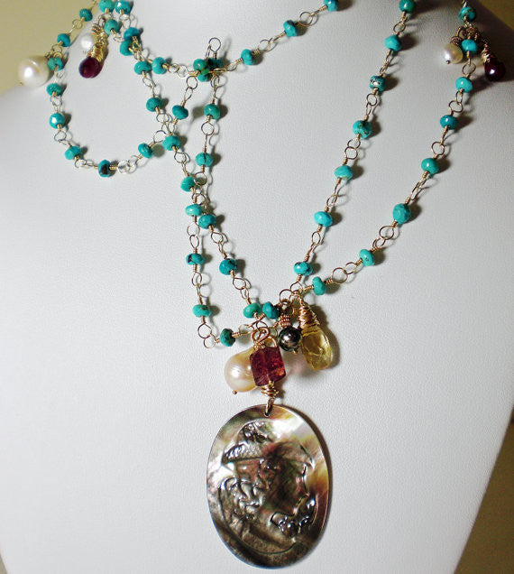Long Turquoise & Gold Necklace Vintage Black Mother of Pearl Cameo