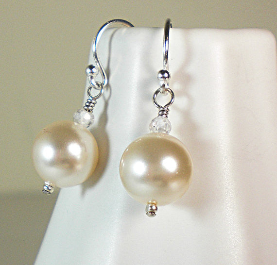 Swarovski Pearl sterling silver drop earrings,