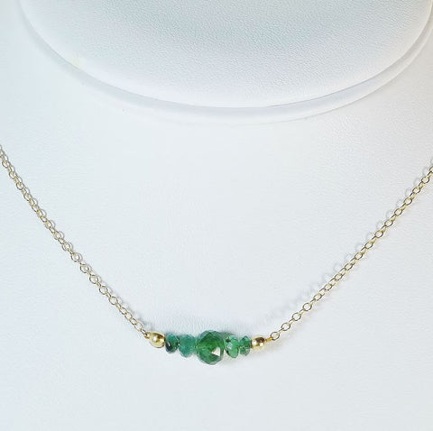 Colombian Emerald bar necklace