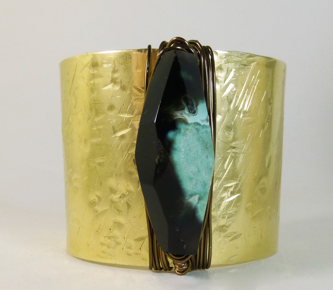 Bohemian Gypsy brass & vintage assemblage with black and green agate  large cuff bracelet.