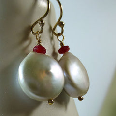 Silver coin pearl and red ruby gold drop earrings