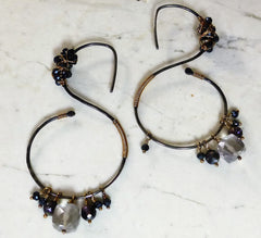 Blackened sterling silver gemstone hoop earrings