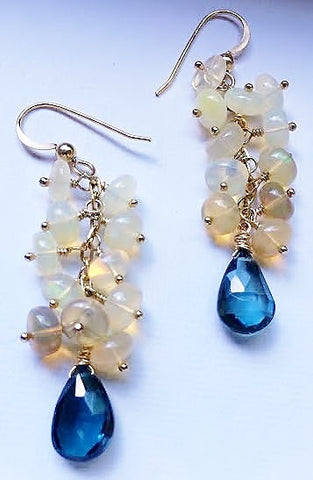 London Blue Topaz and Ethiopian Opal Gold Dangle Earrings