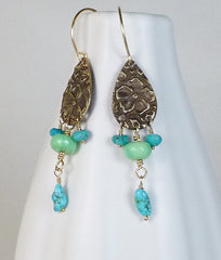 Bronze, chrysoprase and turquoise dangle earrings