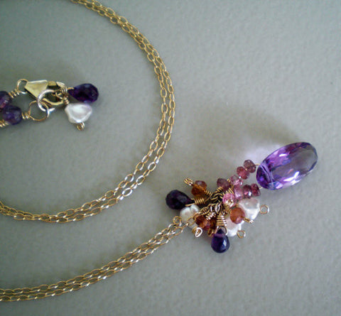 AAA Faceted Amethyst Gold Necklace with Keshi Pearls and Gemstones