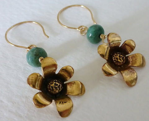 Bronze Flowers & Chrysoprase Dangle Earrings