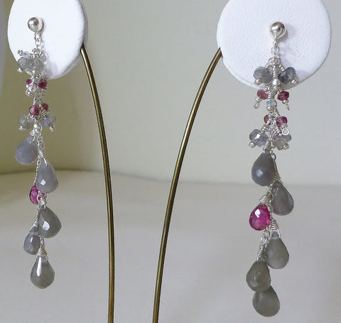 Long Grey Moonstone, Labradorite & Raspberry Tourmaline Drop Earrings