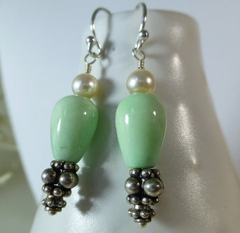 Mint Green Jade and Swarovski Pearl Dangle Earrings