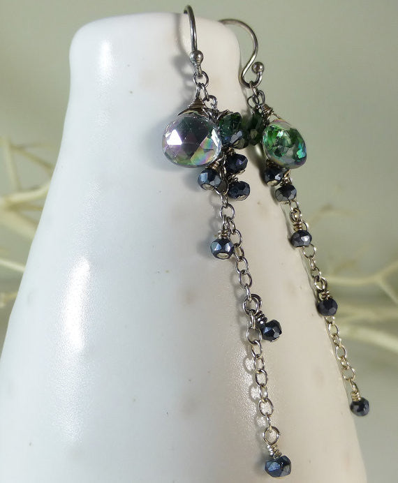 Green Mystic Topaz, Chrome Diopside and Black Pyrite Sparkly Long Dangle Earrings