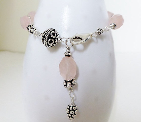 Glowing Faceted Pink Rose Quartz, Pearl & Bali Sterling Silver Bracelet