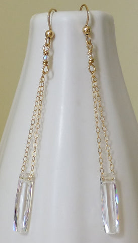 Long Swarovski Crystal Gold Chandelier Earrings