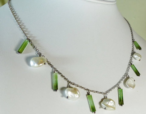 Green Tourmaline & Keshi Pearl Sterling Silver Necklace