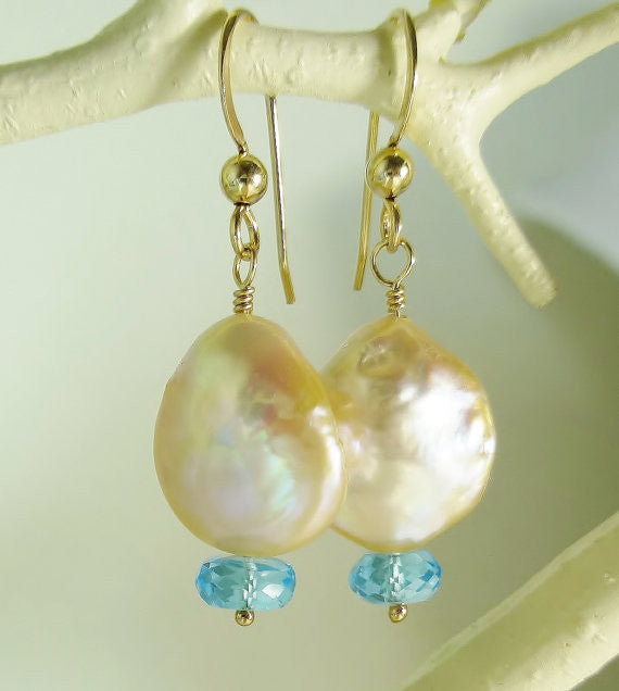 Cream Coin Pearl and Swiss Blue Topaz Gold Earrings