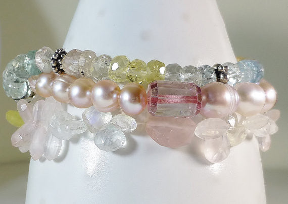 Serious Arm Candy! Mutl Gem Bracelet. Aquamarine, Pink Topaz, Moonstone, Pearl, Rock Crystal, Rose Quartz, Biwa Pearl