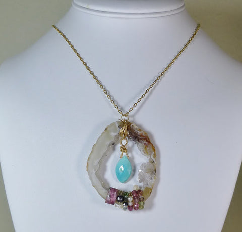 Geode slice Necklace with Druzy, Turquoise, Pink & Green tourmalines, Pearls and Spinels.
