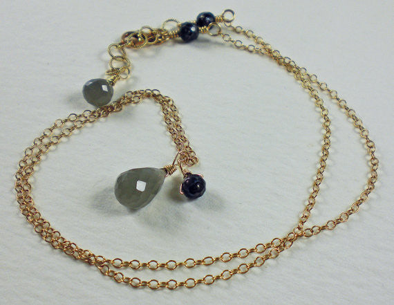 Grey Moonstone with Black Pearl Gold Necklace