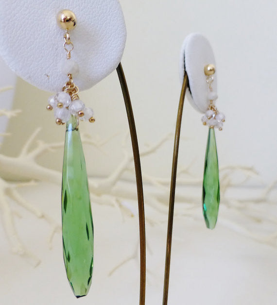 Emerald Green Hydro Quartz and Gemstone Drop Earrings