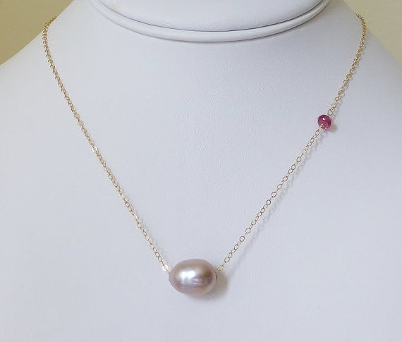Large Pink Pearl & Raspberry Tourmaline Gold Necklace