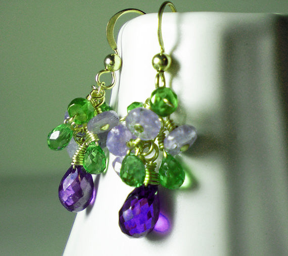 Purple Zircon & Green Gemstone Gold Earrings