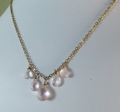 Glowing Pink Five Rose Quartz Briolette Gold Necklace.