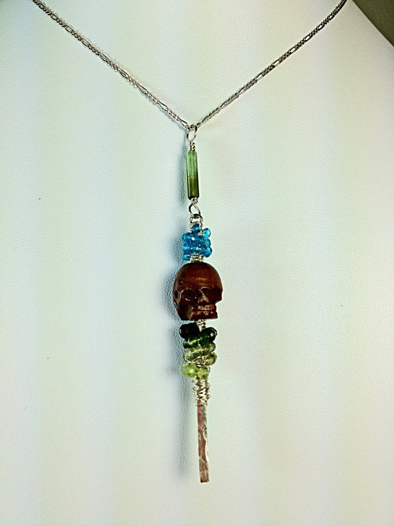 Silver and Wood Skull Necklace with Neon Blue Apatite & Green Tourmalines, Hand Hammered Sterling Silver