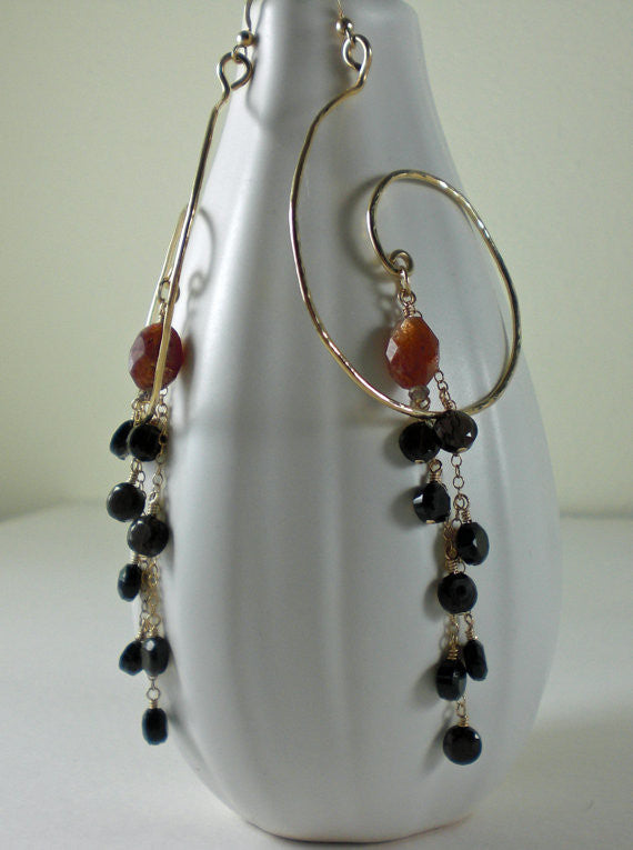 Glowing Orange Sunstone, Smoky Quartz Hand Hammered Gold Chandelier Earrings 14K GF