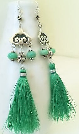 Green Chrysoprase & Silk Tassel Chandelier Statement Earrings, Sterling Silver.