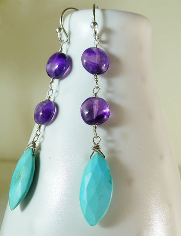 Sleeping Beauty Turquoise & Amethyst Drop Earrings