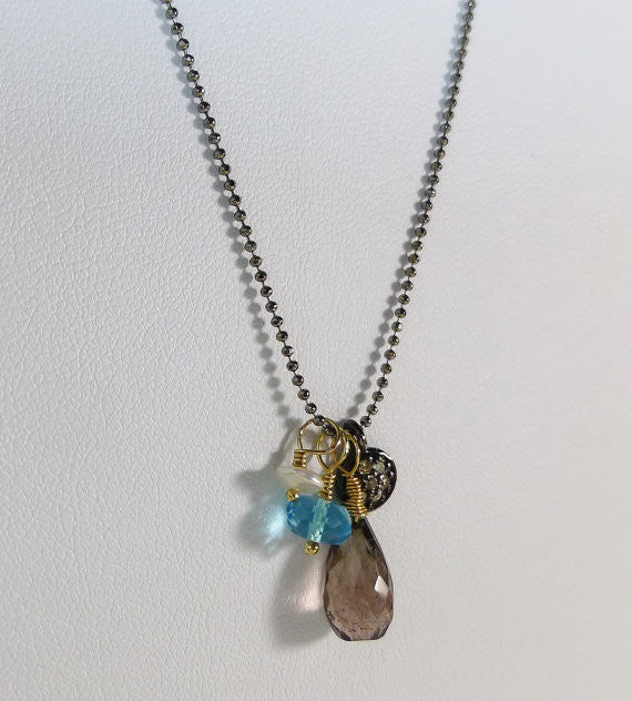 Diamond Sparkling Gemstone Charm Necklace