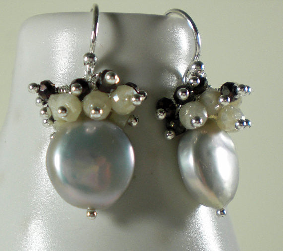 Glowing Silver Coin Pearls with faceted sparkling Mystic Corundum & Pyrite Earrings