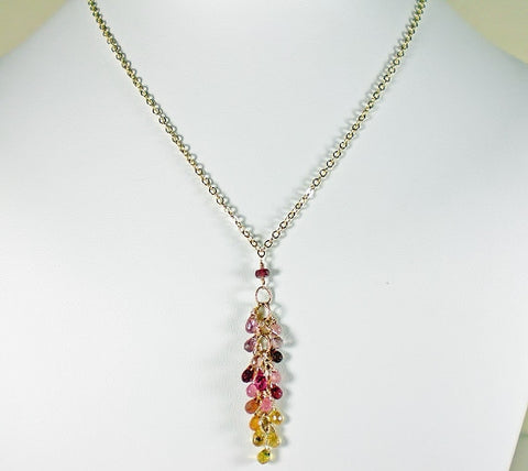 Sapphire Necklace, Pink, Orange, Yellow & Lavender Briolette, Gold.