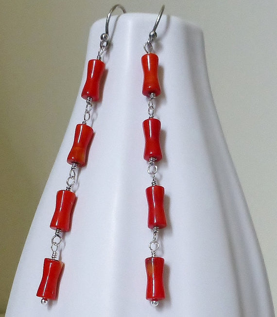 Fire Engine Red Bamboo Coral & Sterling Silver Drop Earrings.