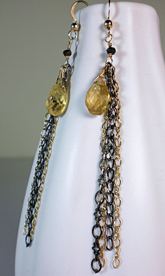 Gunmetal and Gold Chain Earrings with Citrine Briolettes Linear Earrings