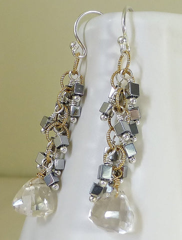 Mixed Metal Gold & Silver Dangle Earrings