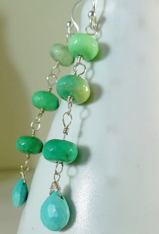 Ombre Green Chrysoprase & Turquoise Drop Earrings