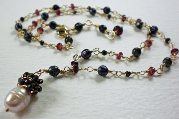 Pink Pearl, Fuschia Garnet & Pyrite wire wrapped Gold Necklace-
