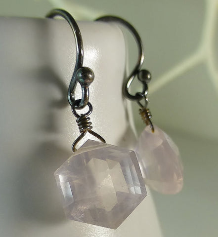 Fancy Octagon Faceted Rose Quartz Briolettes Oxidized Sterling Silver Earrings
