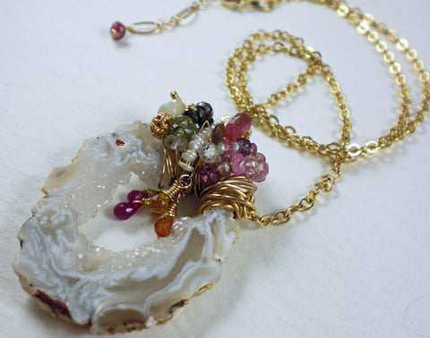 Large Geode Druzy Necklace encrusted with Gemstones and Sapphires