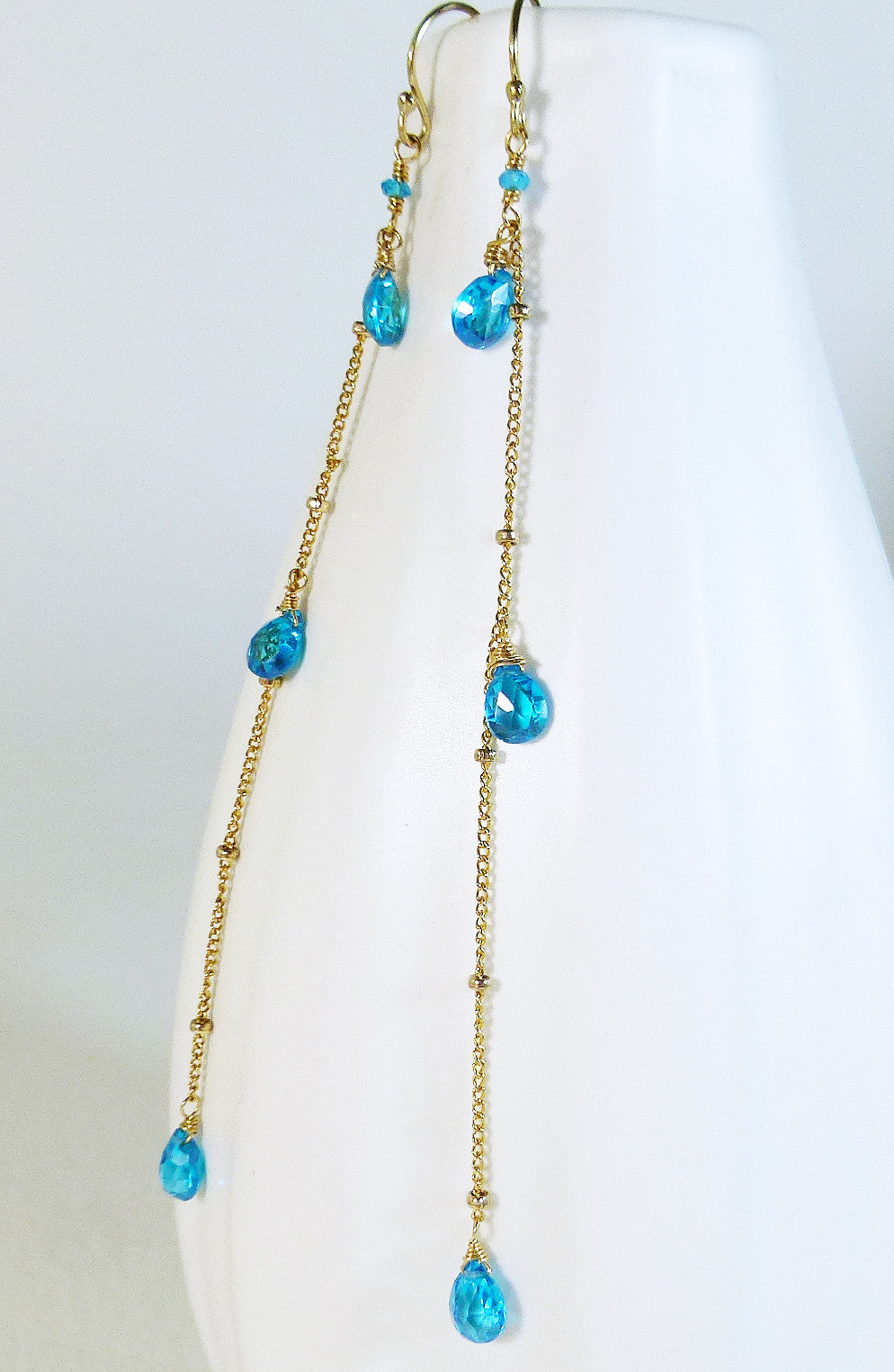 Neon blue Zircon long linear drop gold earrings